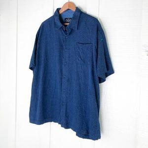 NAT NAST Cotton Silk Blue Geometric Shirt XXL